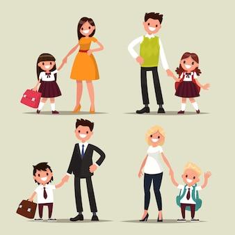 Tekenset. ouders en kinderen zijn studenten samen. terug naar school.
