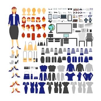 Tekenset van de leraar voor animatie met verschillende weergaven, kapsel, emotie, pose en gebaar.