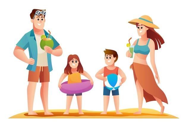 Tekenset van gelukkige familievakantie op het strand