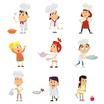 Tekenset van kinderen kookt.