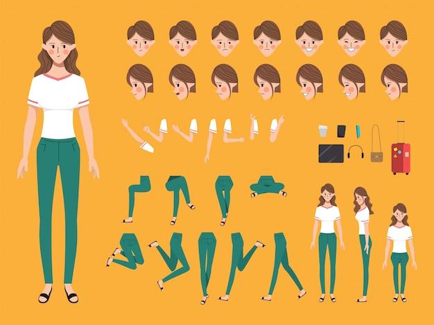 Tekenset voor animatie creatie mensen met emoties gezicht.