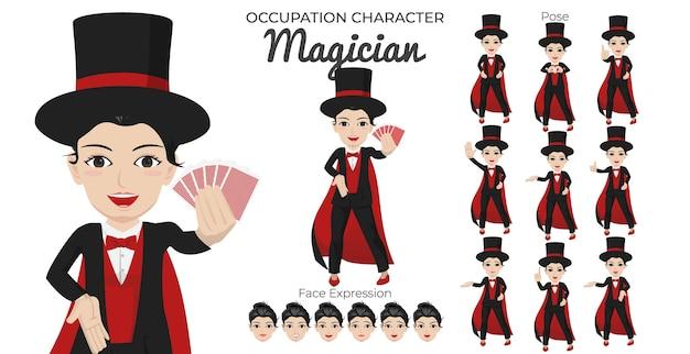 Tekenset voor vrouwelijke goochelaar met een verscheidenheid aan houding en gezichtsuitdrukking