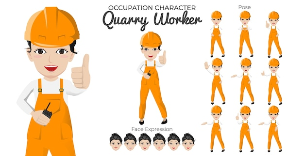 Tekenset voor vrouwelijke steengroeve-werker met een verscheidenheid aan houding en gezichtsuitdrukking