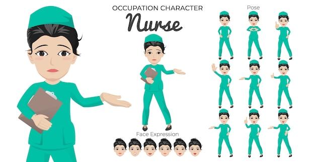Tekenset voor vrouwelijke verpleegster met verschillende pose- en gezichtsuitdrukkingen