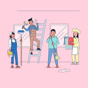 Tekenverzameling van schonere grote reeks geïsoleerde vlakke illustratie die professioneel uniform, cartoonstijl draagt