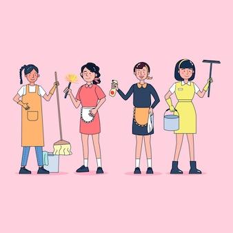 Tekenverzameling van schoonmakers grote reeks geïsoleerde vlakke illustratie die professionele uniform draagt, cartoonstijl