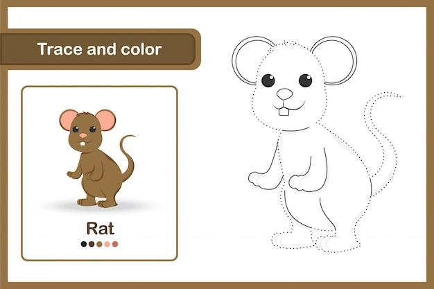 Tekenwerkblad voor kleuters, overtrekken en kleur: rat
