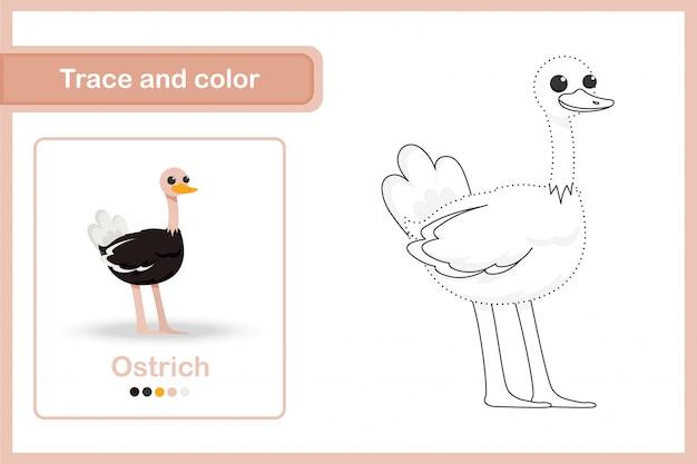 Tekenwerkblad voor kleuters, overtrekken en kleuren: struisvogel