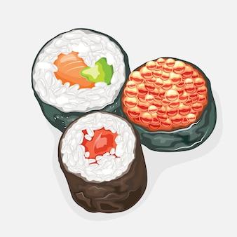 Tekkamaki, futomaki, ikura sushi rolt eromheen met nori zeewier
