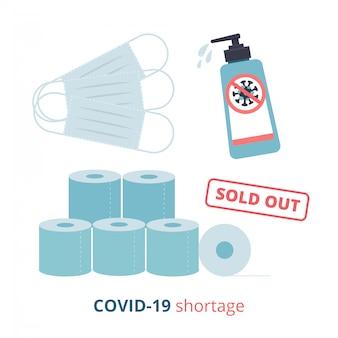 Tekortverschijnselen als gevolg van covid19-uitbraak. coronavirus pandemic en shocked upset. gezichtsmasker, sanitizer gel en toiletpapier uitverkocht. gebrek aan essentiële zaken. vlakke afbeelding.