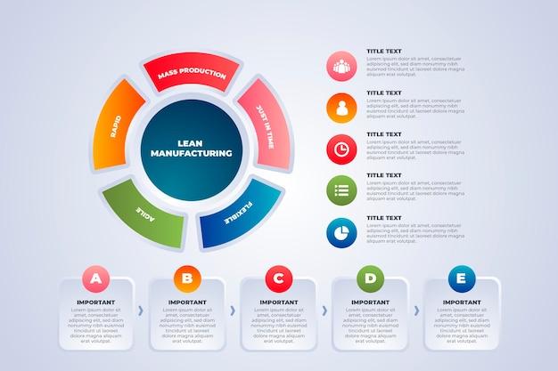 Tekst en afbeeldingen productie infographic sjabloon