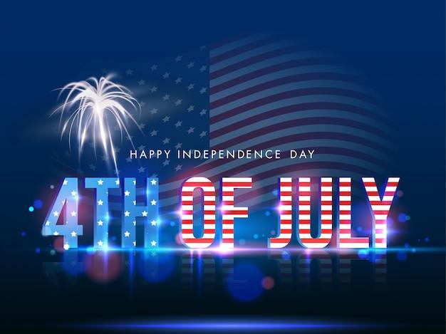 Tekst in amerikaanse vlagkleur met vuurwerk op glanzende blauwe achtergrond voor het gelukkige concept van de onafhankelijkheidsdag.