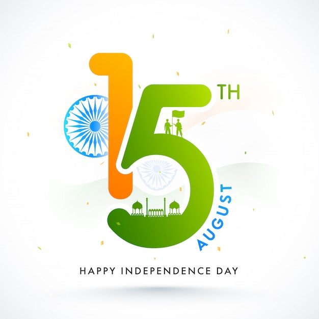 Tekst met ashoka wheel, silhouette red fort en soldaten met een vlag op witte achtergrond voor happy independence day celebration.