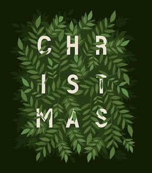 Tekst met bladeren, vrolijke van de de decoratiekaart van het kerstmisseizoen de uitnodigingsviering en vakantieillustratie