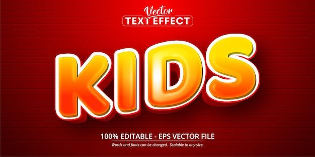 Tekst voor kinderen, bewerkbaar teksteffect in cartoonstijl Premium Vector