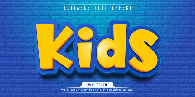 Tekst voor kinderen, bewerkbaar teksteffect in cartoonstijl