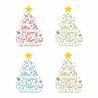 Tekst we wish you a merry christmas pine tree