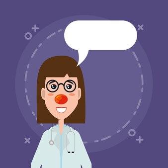 Tekstballon en cartoon vrouw arts