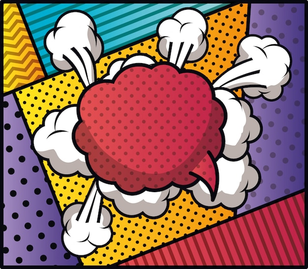 Tekstballon en stel patronen in popart-stijl