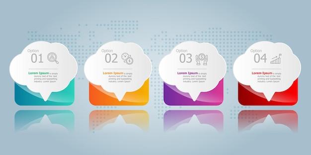 Tekstballon horizontale infographic presentatie element sjabloon met zakelijke pictogram 4 opties vector afbeelding achtergrond