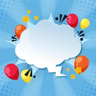 Tekstballon in papierstijl met ballonnen
