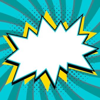 Tekstballon in pop-artstijl. strips pop-art stijl lege knal vorm op een blauwe gedraaide achtergrond.