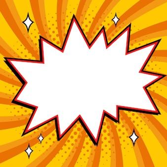 Tekstballon in pop-artstijl. strips pop-art stijl lege knal vorm op een gele gedraaide achtergrond.