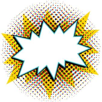 Tekstballon in pop-artstijl. strips pop-art stijl lege knal vorm op een multi kleur halftoon.
