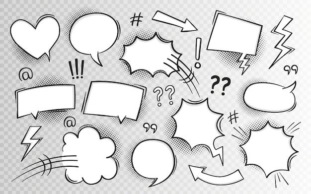 Tekstballon in stripboek in pop-artstijl met halftoon en bliksemschichten.