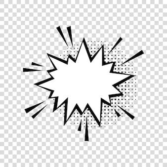 Tekstballon met halftoonschaduwen in stripstijl