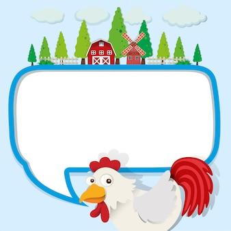 Tekstballon met kip en boerderij