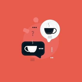 Tekstballon met koffiekopje, koffiepauze, discussie met warme dranken, communicatie met koffie concept