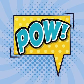Tekstballon met pow word comic pop-art