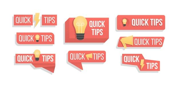 Tekstballon met tekst geïsoleerd. snelle tips kleurrijke banner met nuttige informatie. advies en bericht