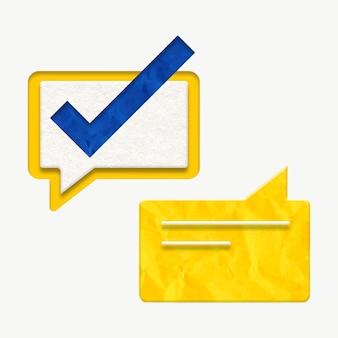 Tekstballon met vinkje online orderbevestiging afbeelding