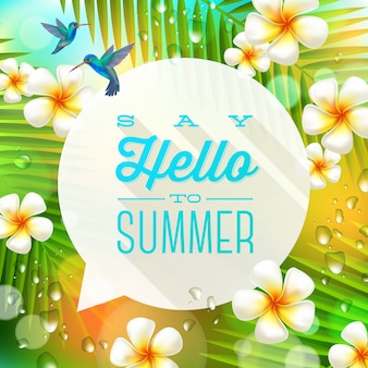 Tekstballon met zomer groet en kolibries tegen een tropische natuur achtergrond