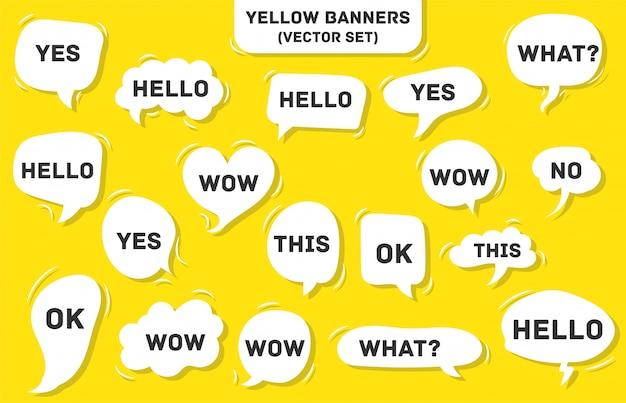 Tekstballon op geel. ja, dit, wauw, wat, hallo, oké.