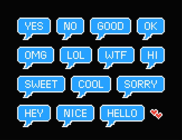 Tekstballon pixel kunst