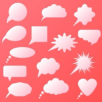 Tekstballon set geïsoleerd op roze