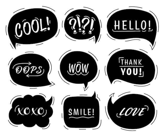 Tekstballon set met conversatie zinnen en woorden in geïsoleerde