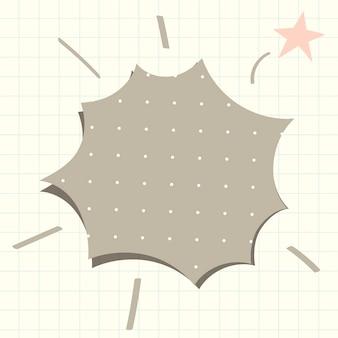 Tekstballon vector in gestippelde grijze papieren patroonstijl