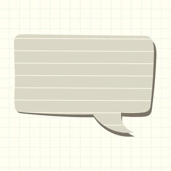 Tekstballon vector in grijs gelinieerd papier patroonstijl