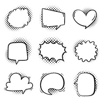 Tekstballon voor het invoeren van gespreksberichten en gedachten van stripfiguren