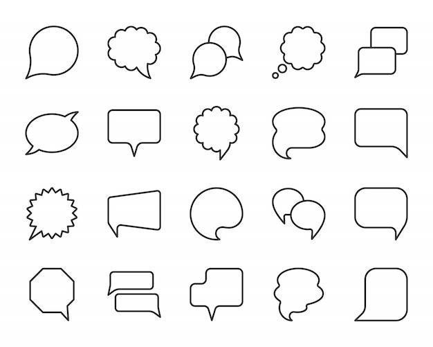 Tekstballon zwarte lijn eenvoudige pictogrammen set, komische vertellen, communicatie chat teken.