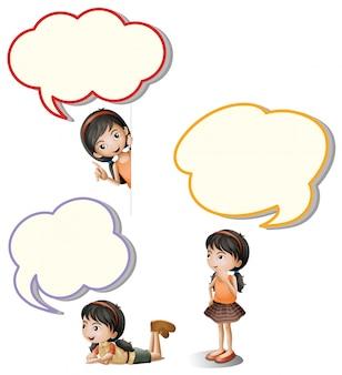 Tekstballonnen en klein meisje