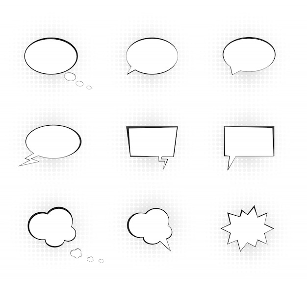 Tekstballonnen. grappige vectorspraakdoos