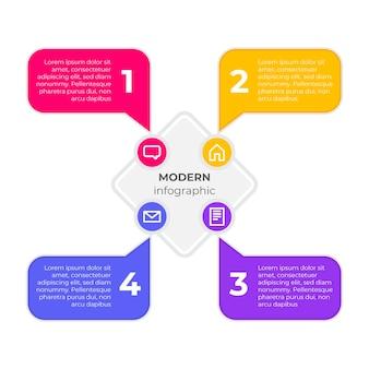 Tekstballonnen infographics in plat ontwerp