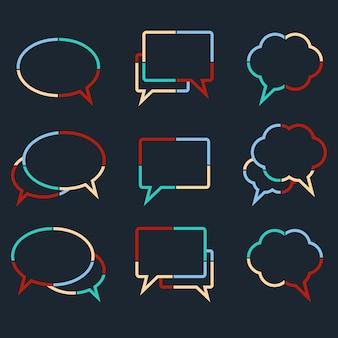 Tekstballonnen lineair van kleurrijke stippellijnen