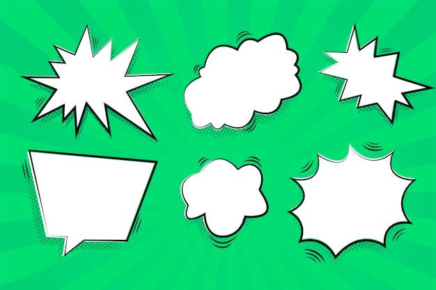 Tekstballonnen met groene achtergrond