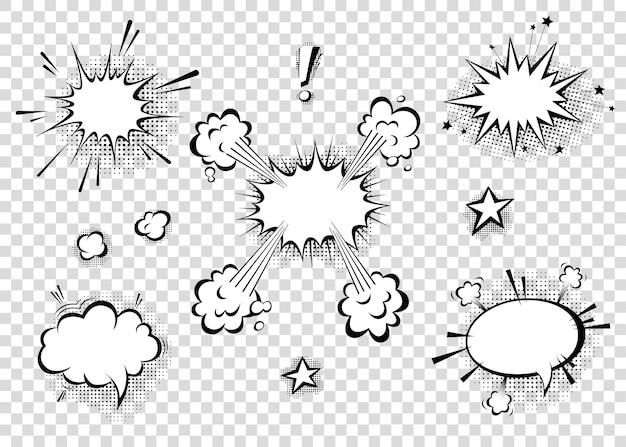 Tekstballonnen met halftoonschaduwen in tekenfilm, komische stijl